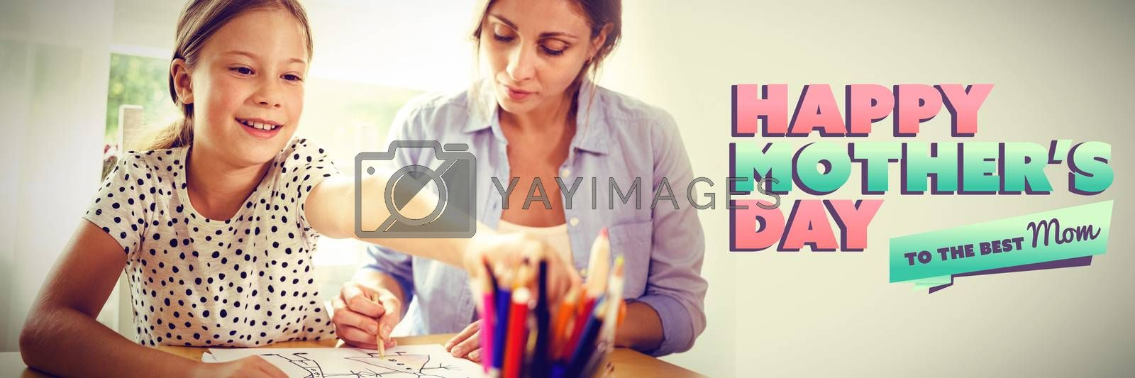 mothers day greeting against smiling mother and daughter drawing together