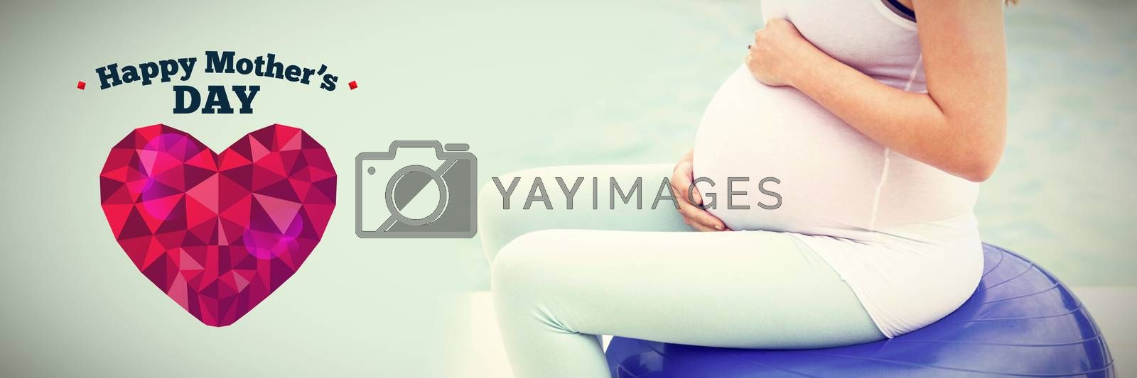 happy mothers day against side view of pregnant woman sitting on exercise ball