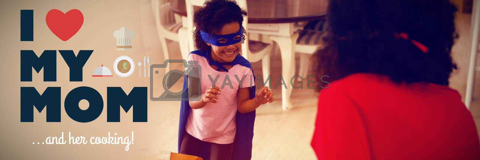 mothers day greeting against mother and daughter playing super heroes