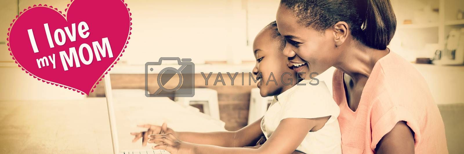 mothers day greeting against side view of daughter using laptop at desk with mother