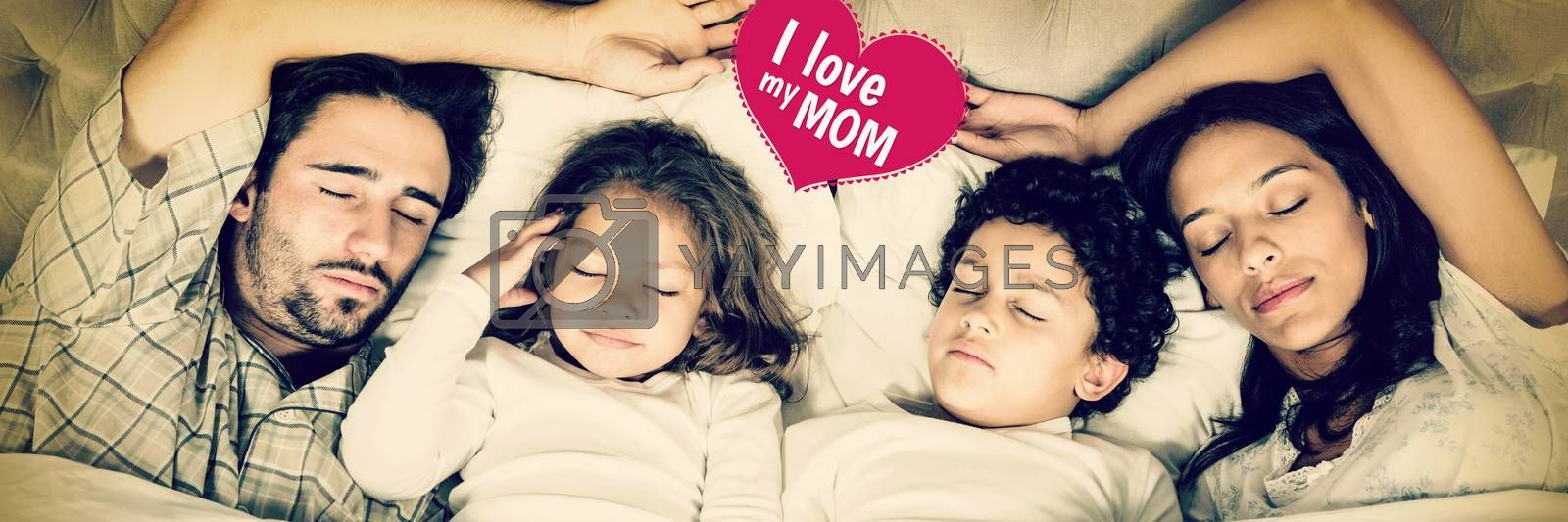 mothers day greeting against happy family sleeping together