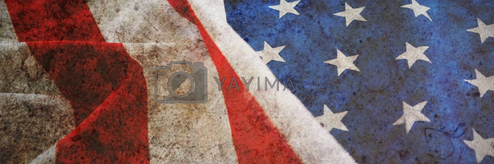 Full frame close-up of crumbled American flag