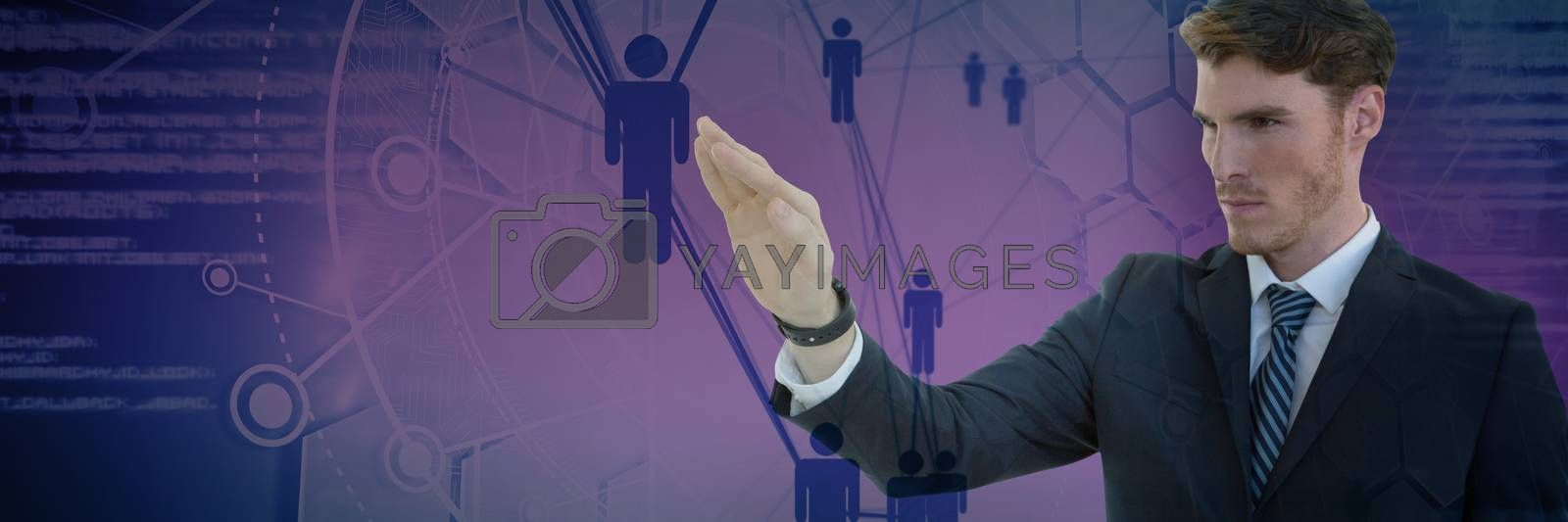Businessman presenting against people icons and binary codes