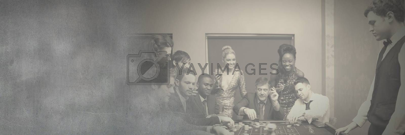 Digital composite of Group of people in casino