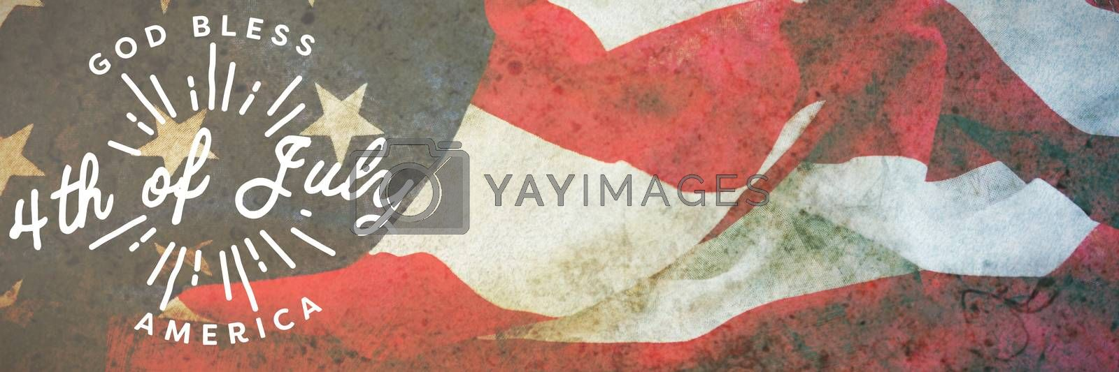 Royalty free image of Composite image of digitally generated image of happy 4th of july message by Wavebreakmedia