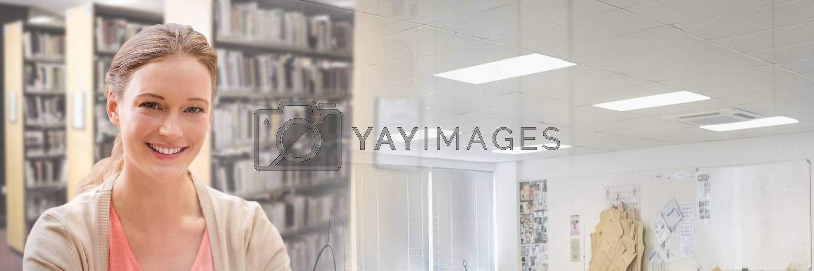 Digital composite of Student woman in education library with transition