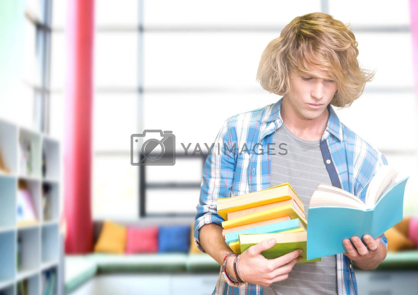 Digital composite of Student man in education library