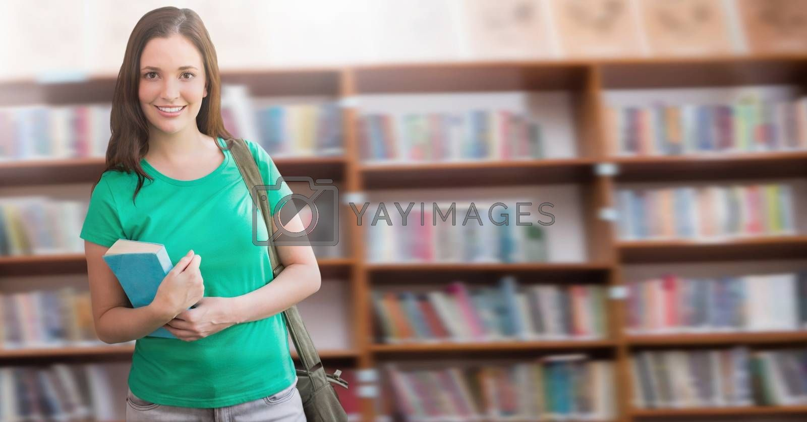 Digital composite of Student girl in education library
