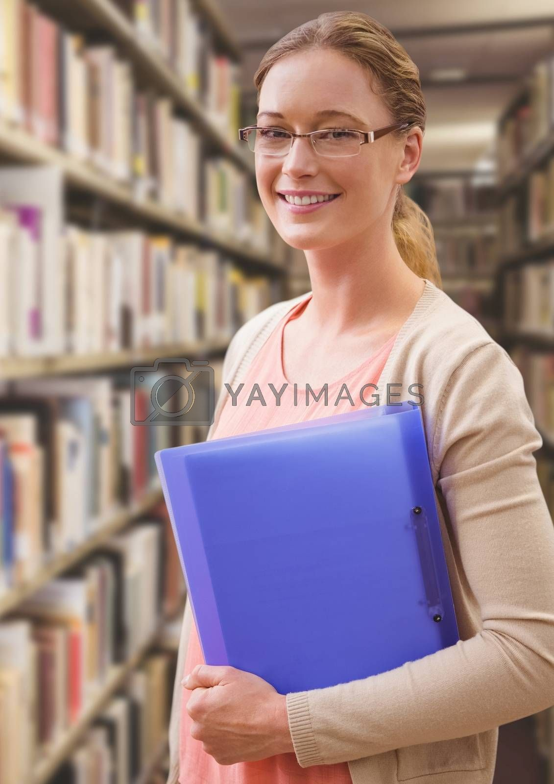 Digital composite of Student woman in education library