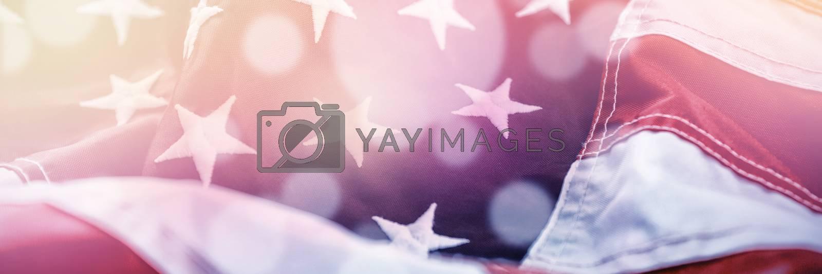Full frame shot of wrinkled American flag