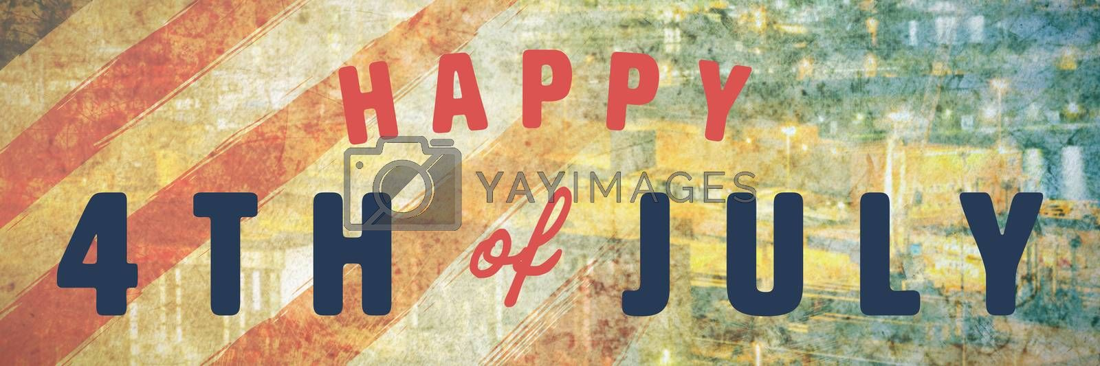 Digitally generated image of happy 4th of july text against new york