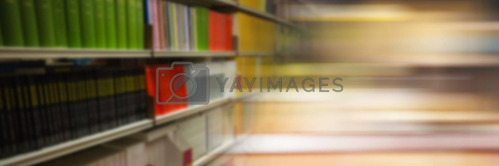 Digital composite of Education library with colorful motion effect transition