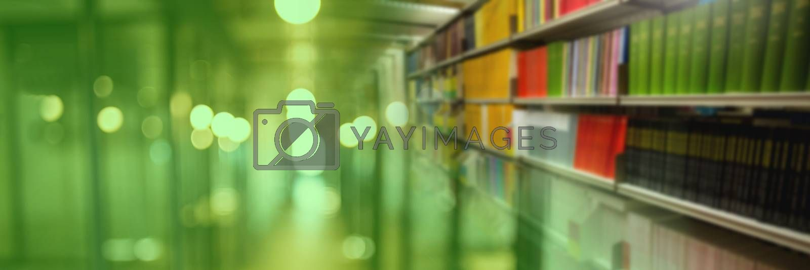 Digital composite of Education library with colorful green transition