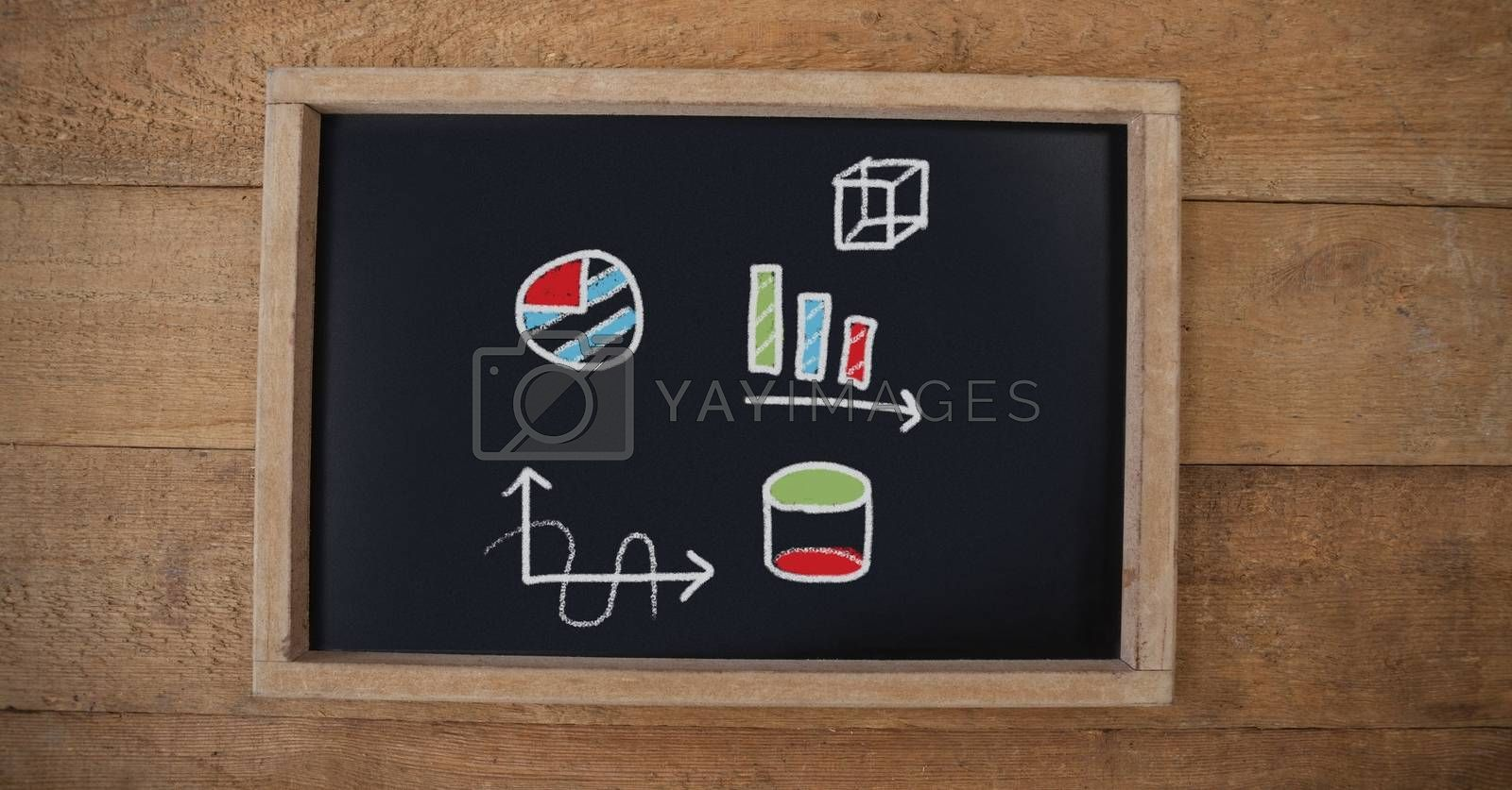 Digital composite of Geometry drawings on education blackboard