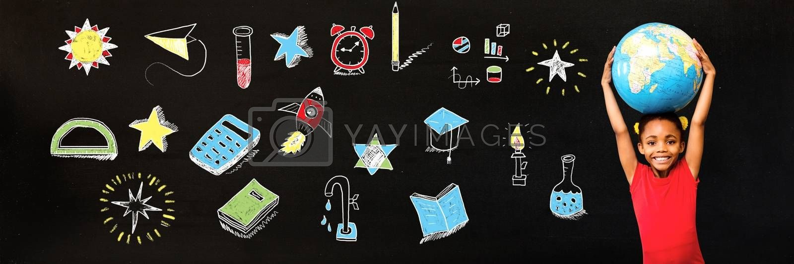 Digital composite of School girl holding world globe and Education drawing on blackboard for school