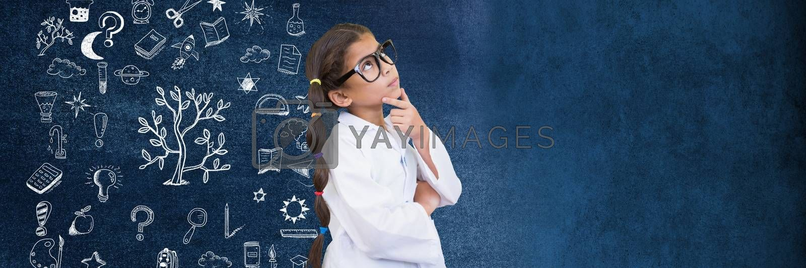 Digital composite of School girl scientist and Education drawing on blackboard for school
