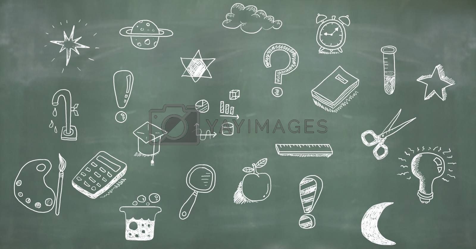 Digital composite of Education drawing on blackboard for school