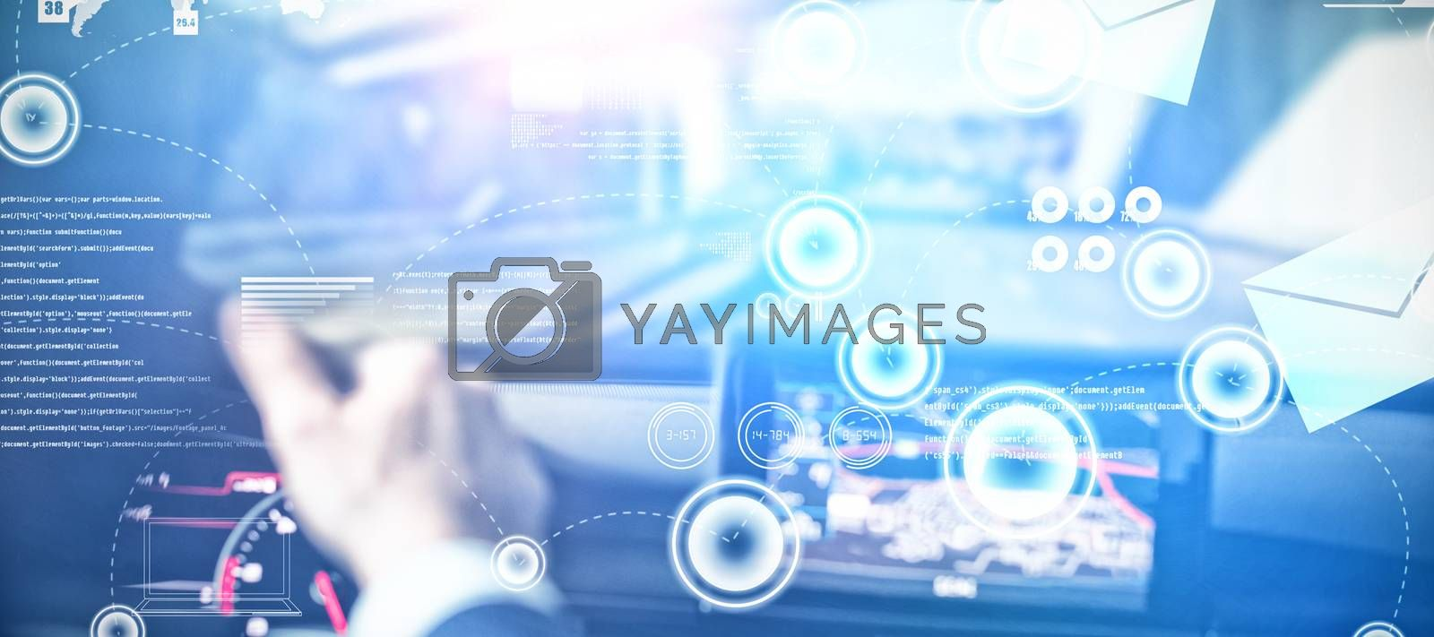 Email communication background against man driving car and looking into rear view