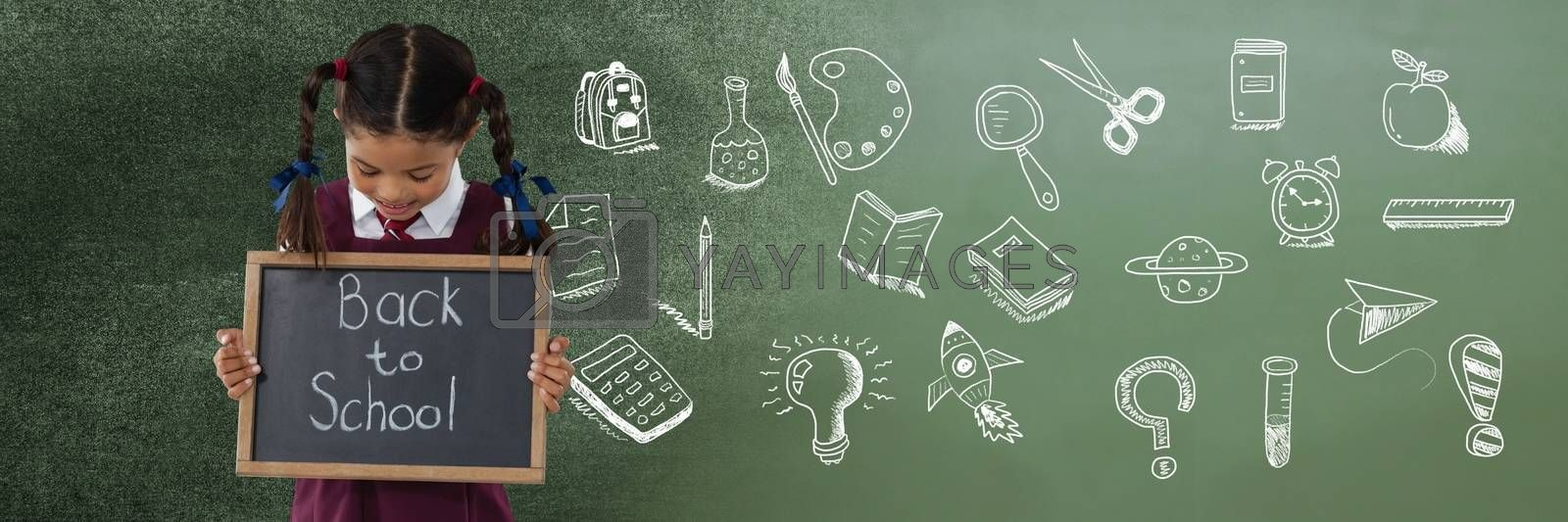 Digital composite of Back to School writing with School girl and Education drawing on blackboard for school