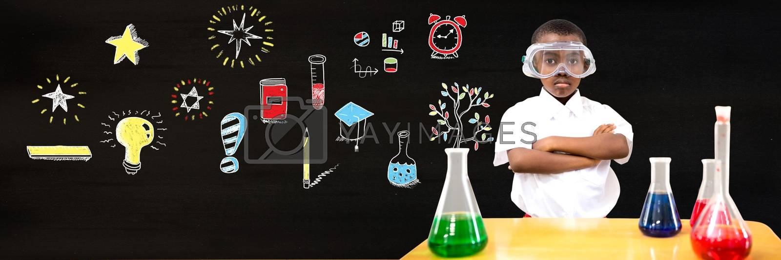 Digital composite of School boy scientist and Education drawing on blackboard for school