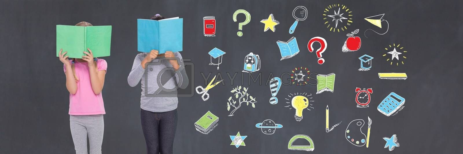 Digital composite of School kids reading and Education drawing on blackboard