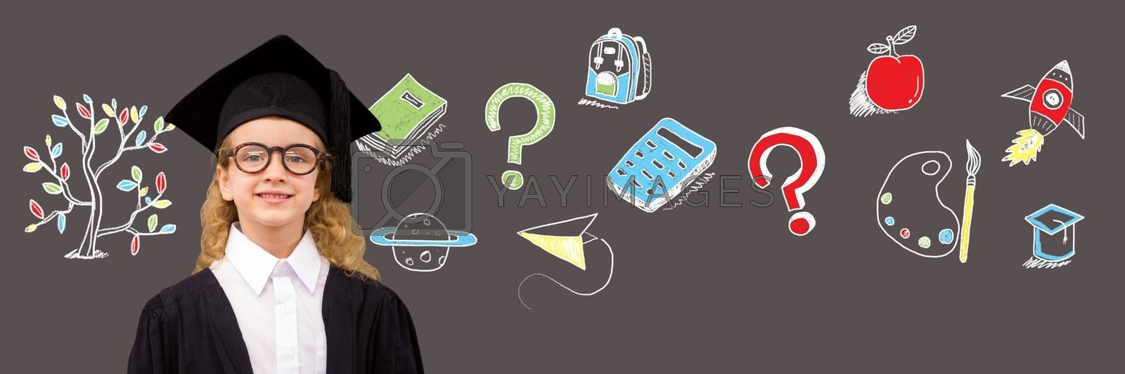 Digital composite of School girl and Education drawing on blackboard for school with tree