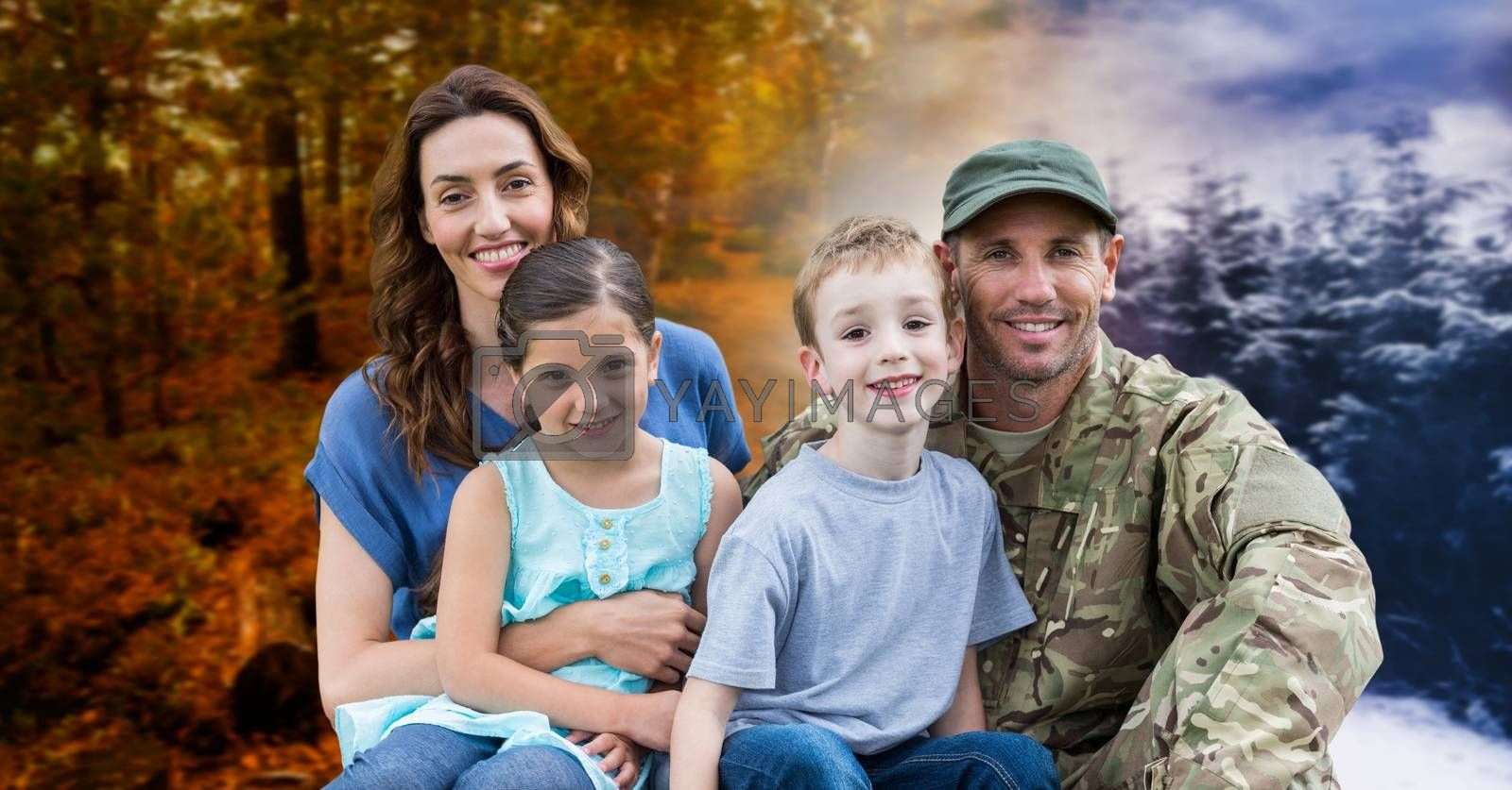 Digital composite of Autumn and Winter seasonal weather transition landscape and soldier with family