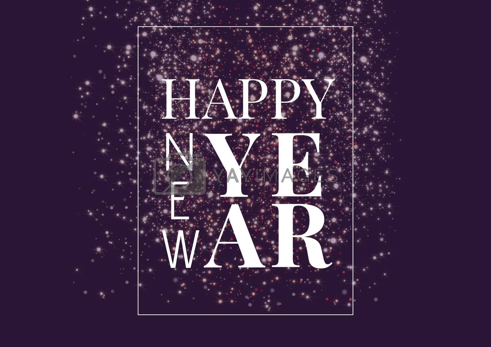 Digital composite of Happy New Year Framed textblock and glitter in the background