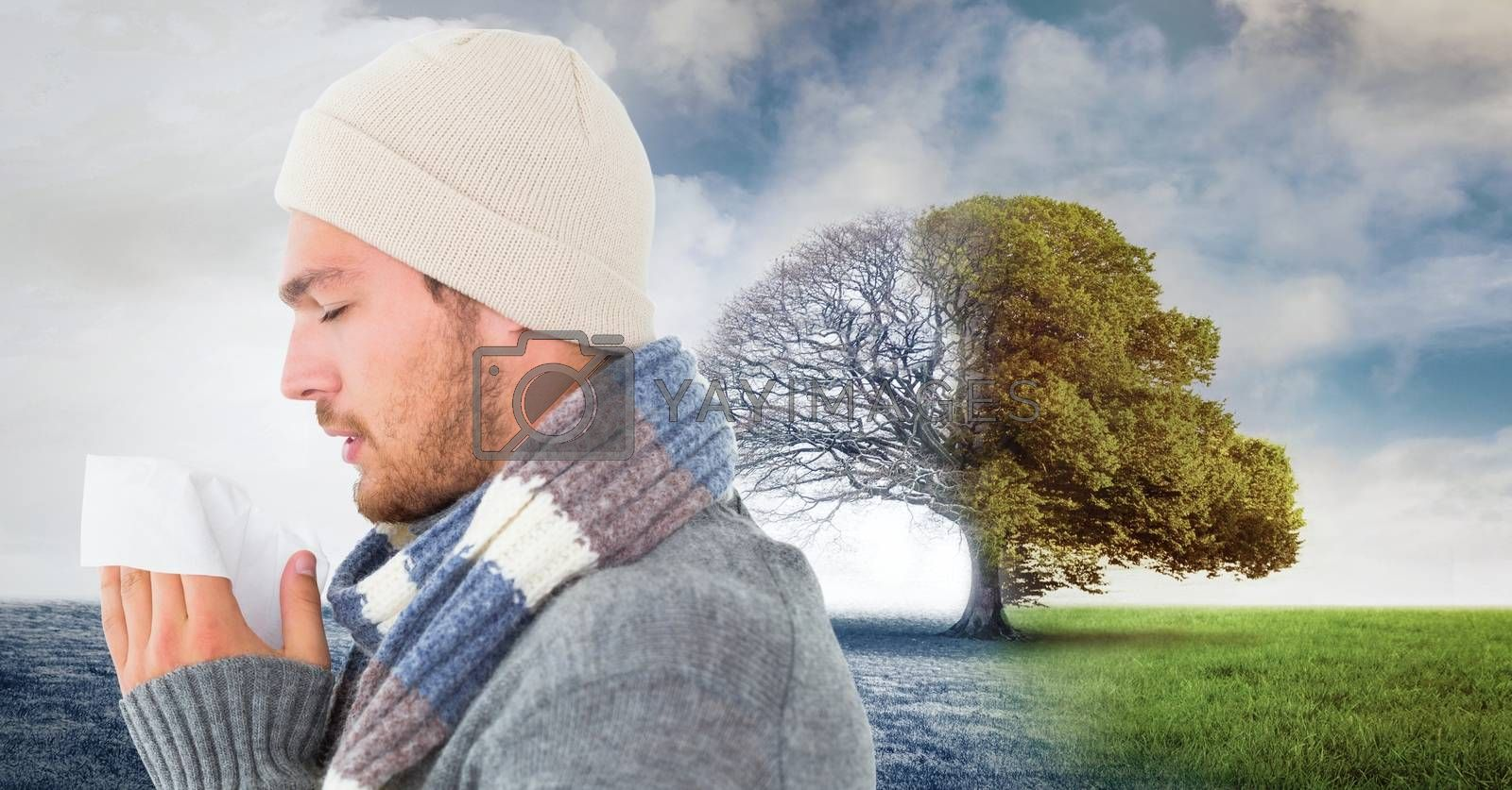 Digital composite of Autumn and Winter seasonal weather transition and sick man with flu