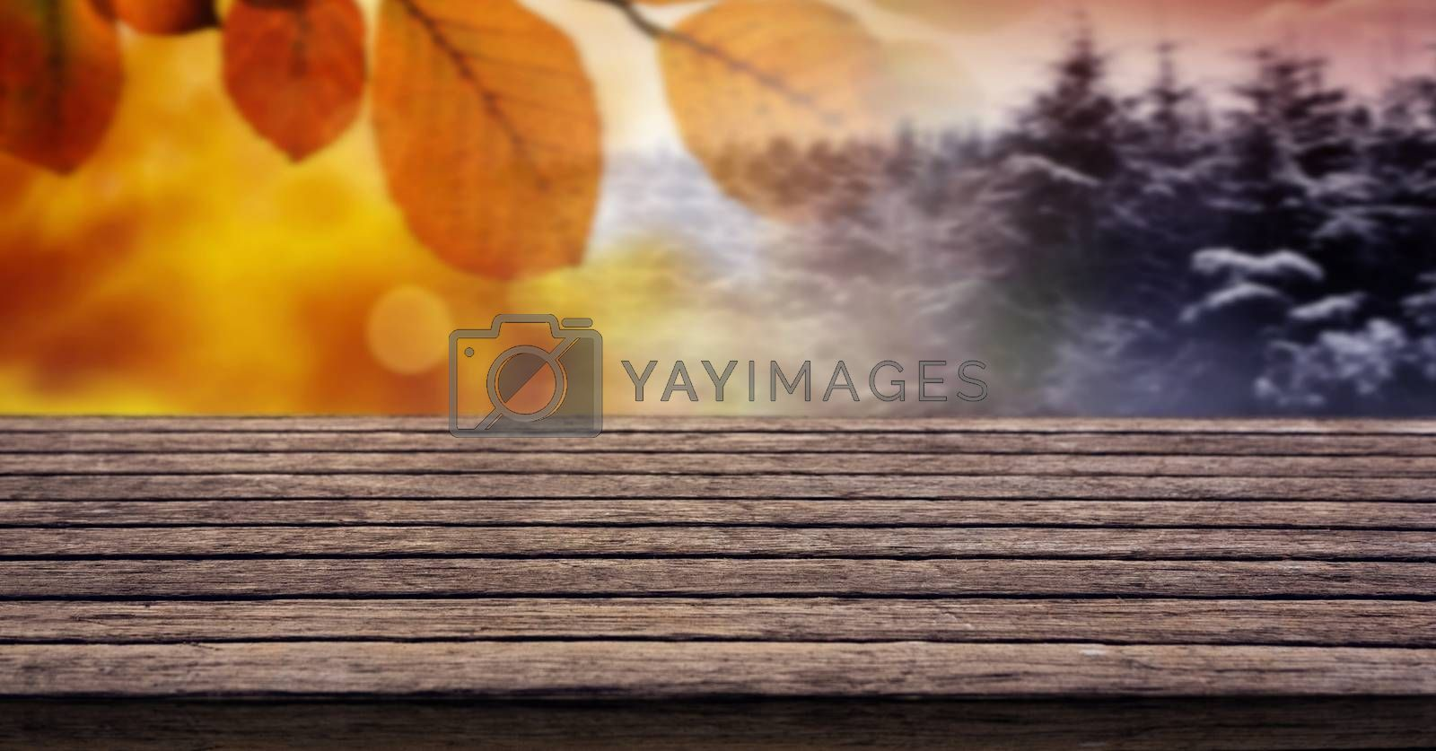 Digital composite of Autumn leaves and Winter seasonal weather transition with wood surface