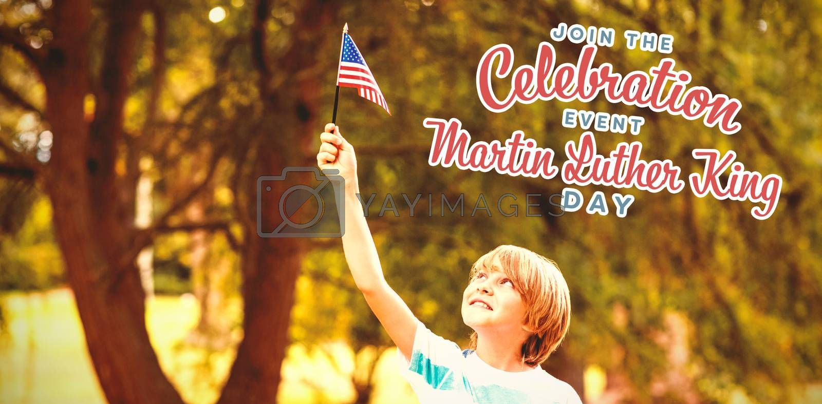 Boy with American flag against join the celebration event martin luther king day