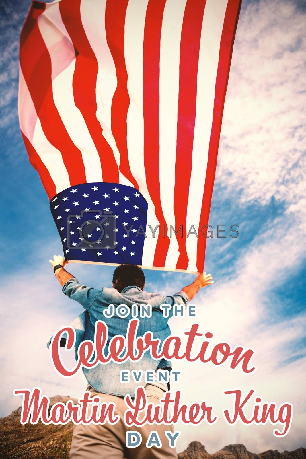 join the celebration event Martin Luther King Day against rear view of man holding american flag against sky