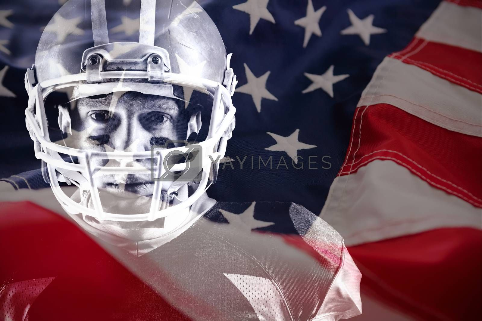 Close-up of American flag against american football player standing with rugby helmet