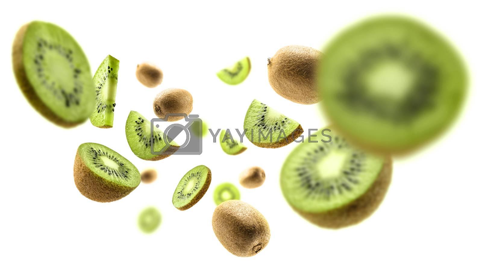 Kiwi fruit levitating on a white background.