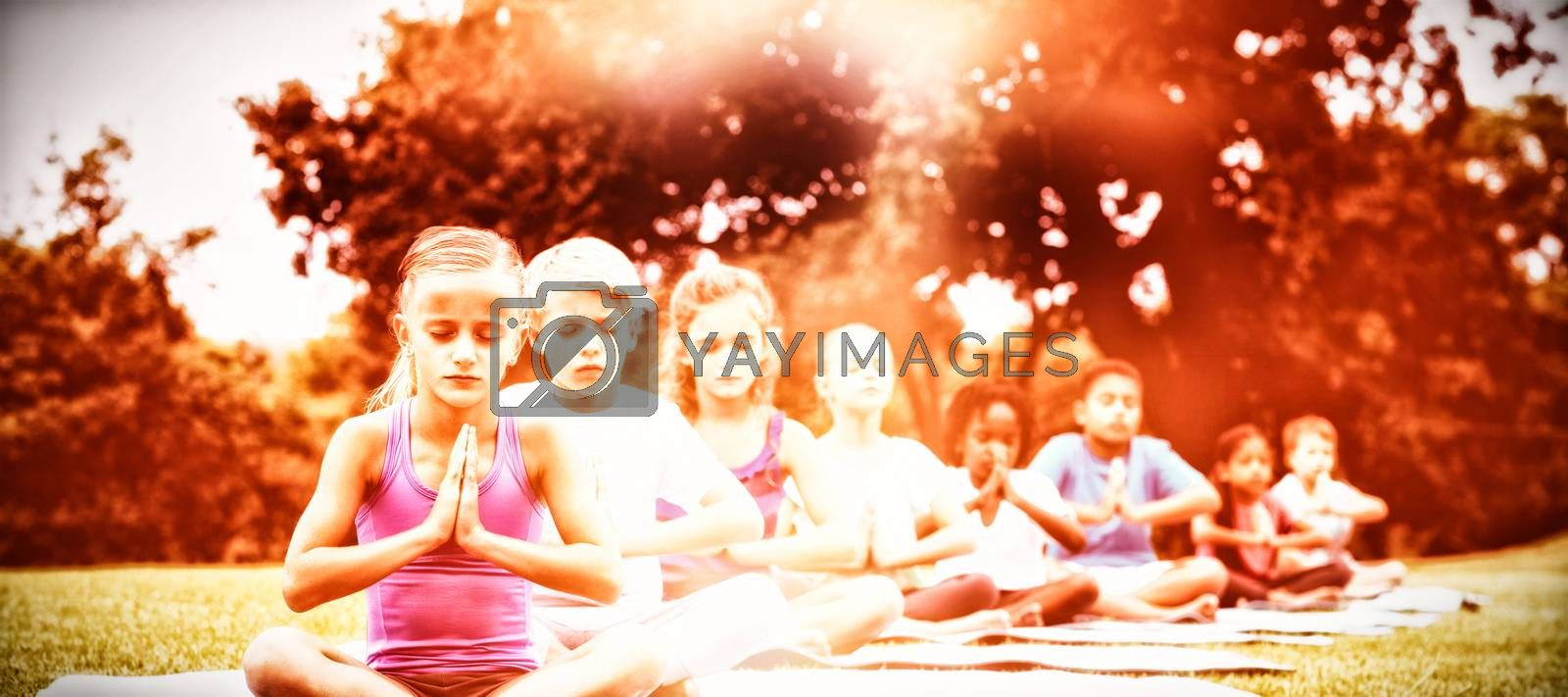 Children doing yoga while sitting on mat at park