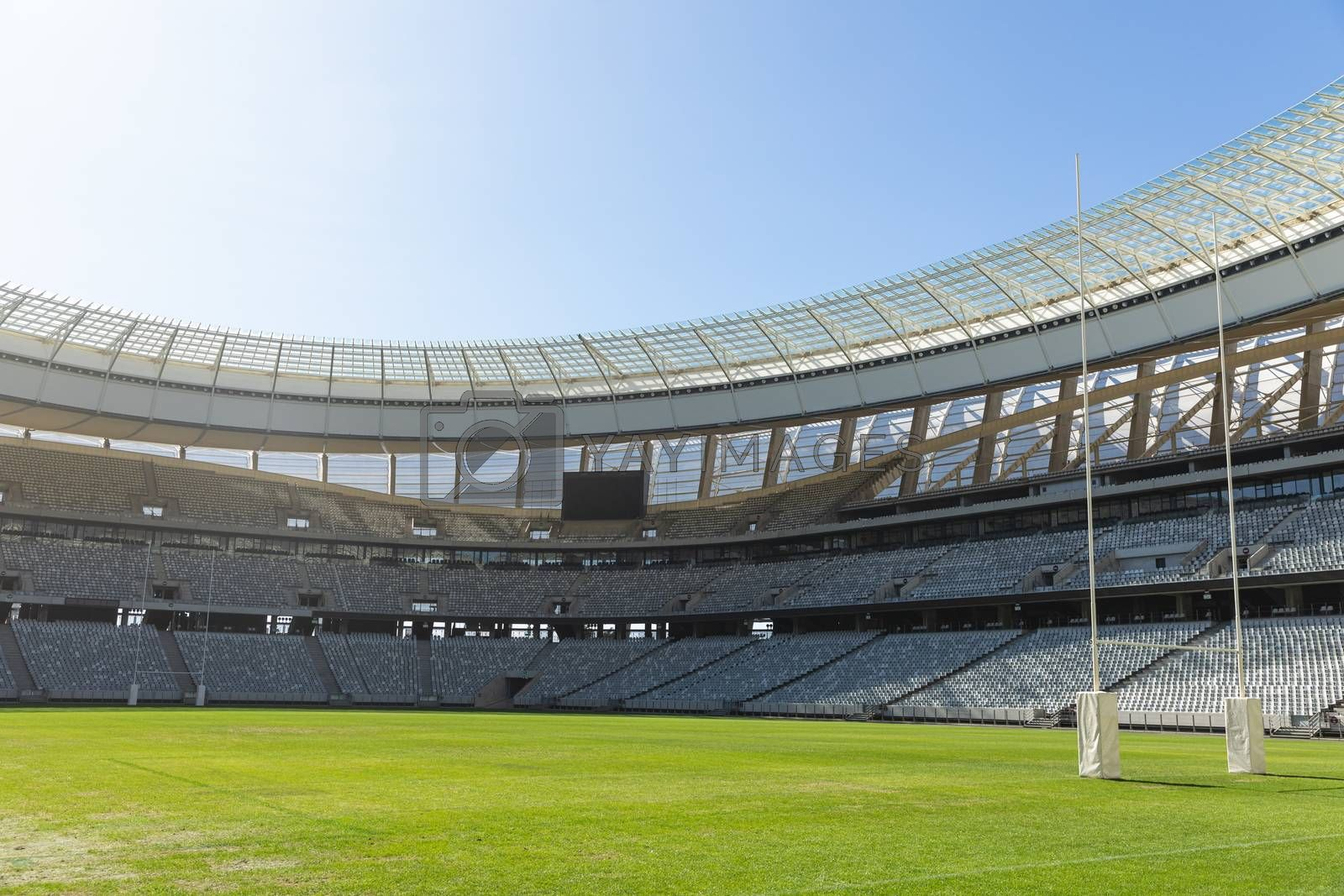 Empty Rugby goal post on a sunny day in the stadium