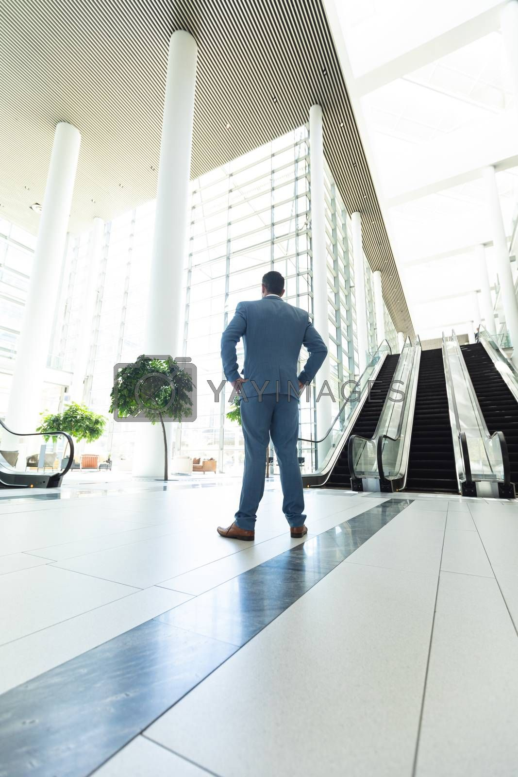 Rear view of thoughtful mature Caucasian businessman standing in modern office