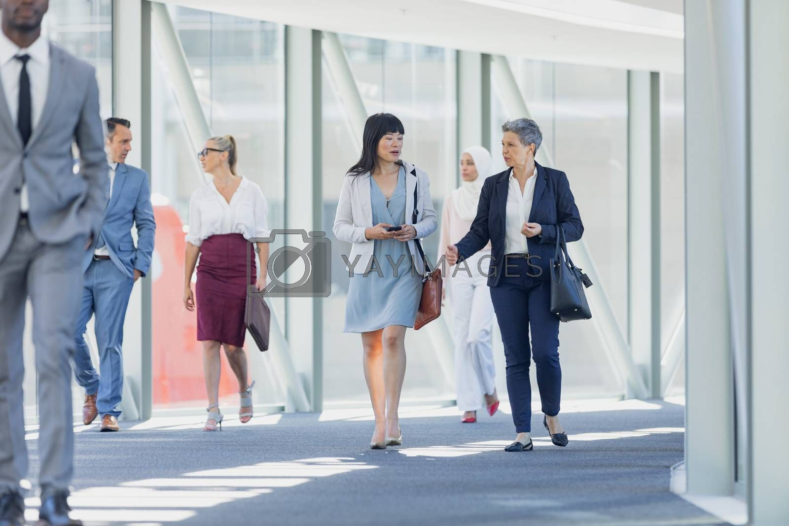 Front view of diverse businesswomen interacting with each other while walking in corridor in modern office
