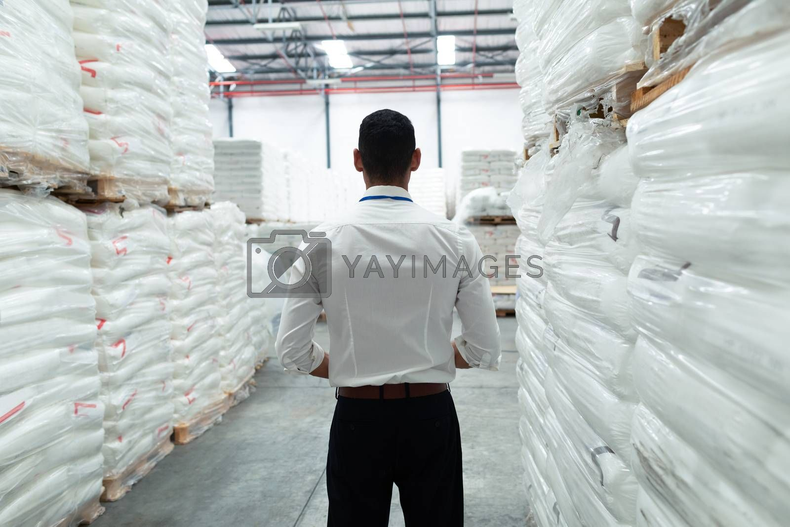 Rear view of thoughtful Caucasian male supervisor standing in warehouse. This is a freight transportation and distribution warehouse. Industrial and industrial workers concept