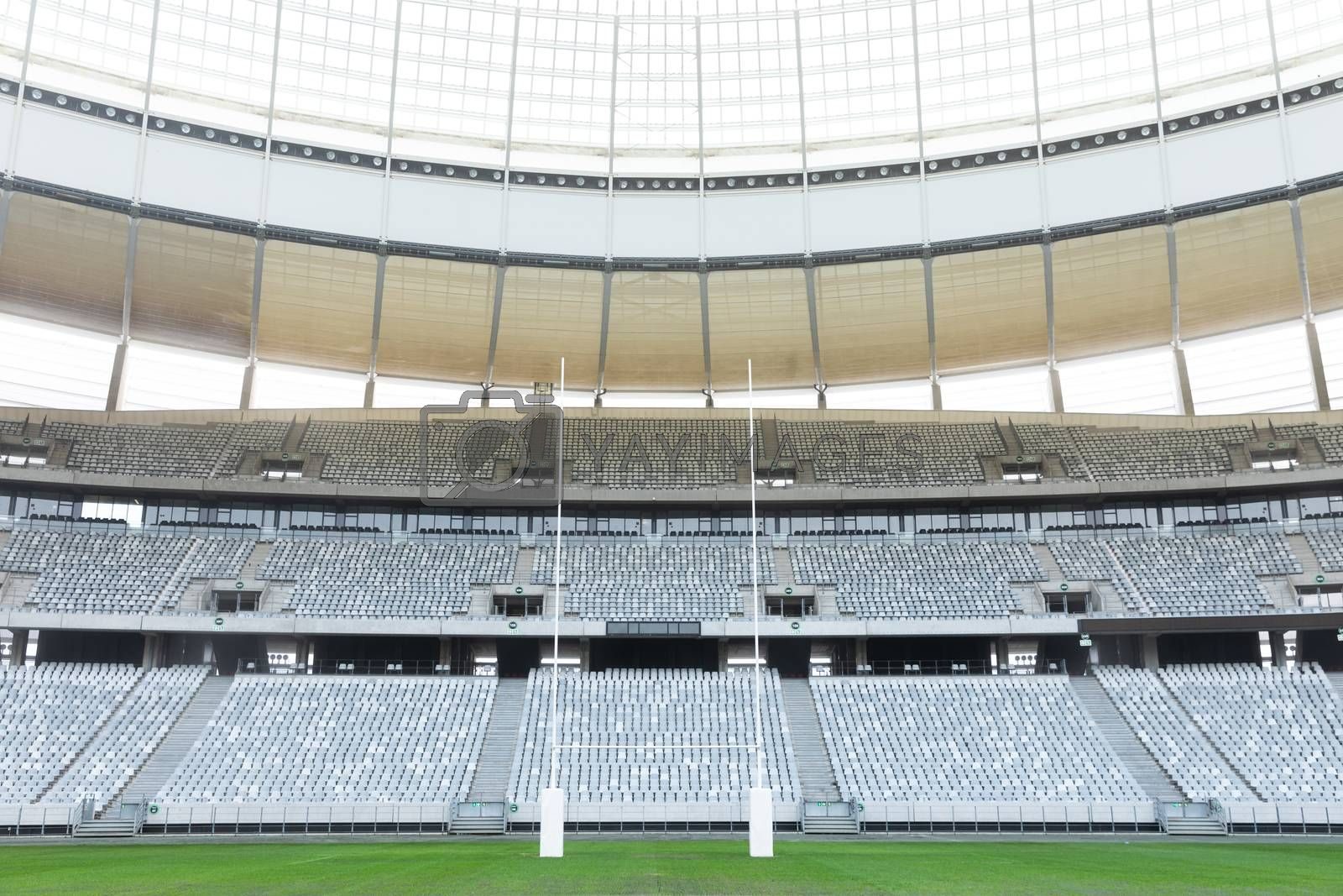 Front view of rugby goal post in a empty stadium