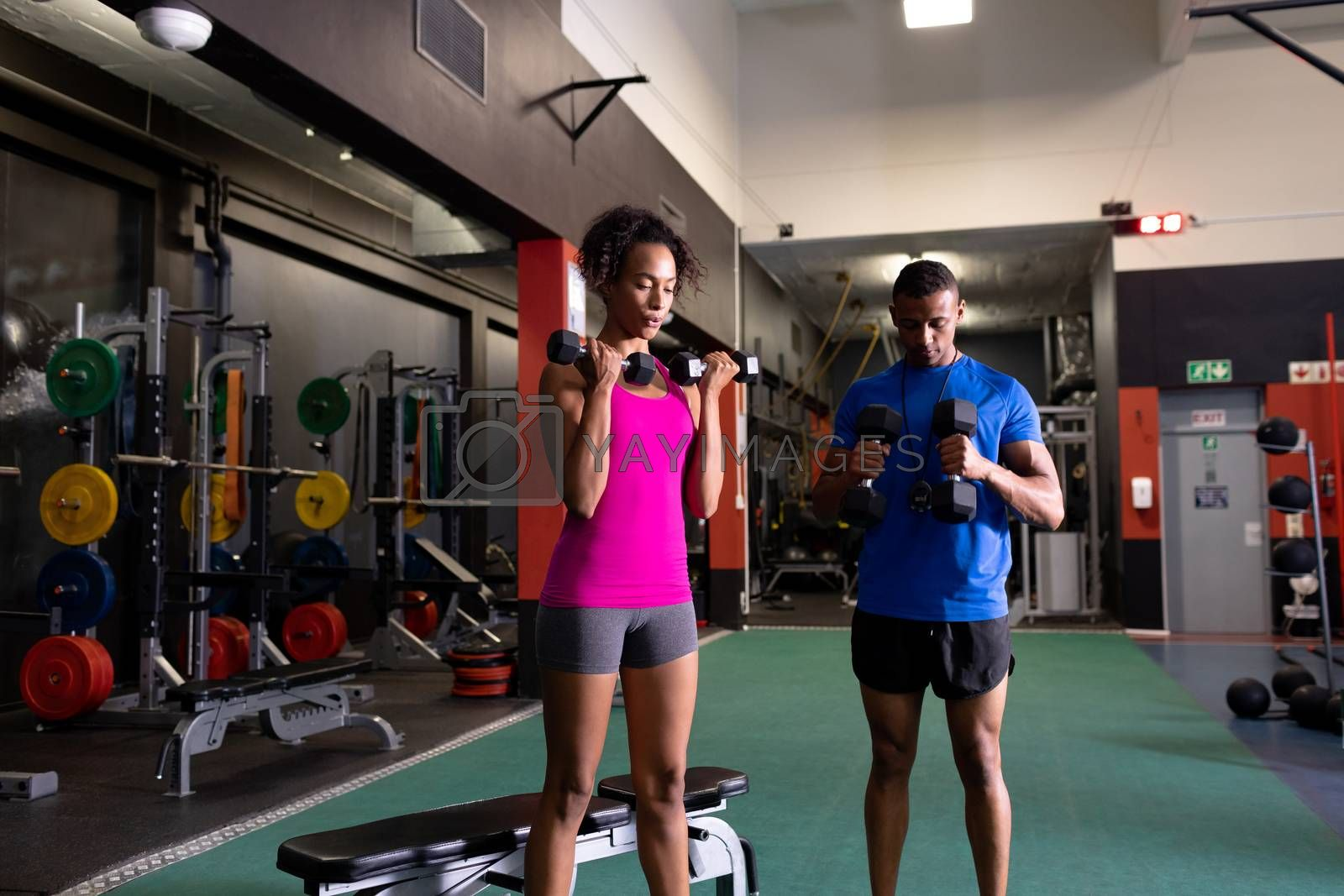 Front view of an African-American woman and man standing while using a dumbbells on both arms inside a room at a sports center. Bright modern gym with fit healthy people working out and training. Bright modern gym with fit healthy people working out and training