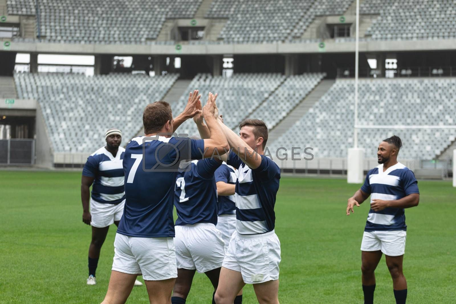 Side view of group of diverse male rugby players celebrating goal in stadium