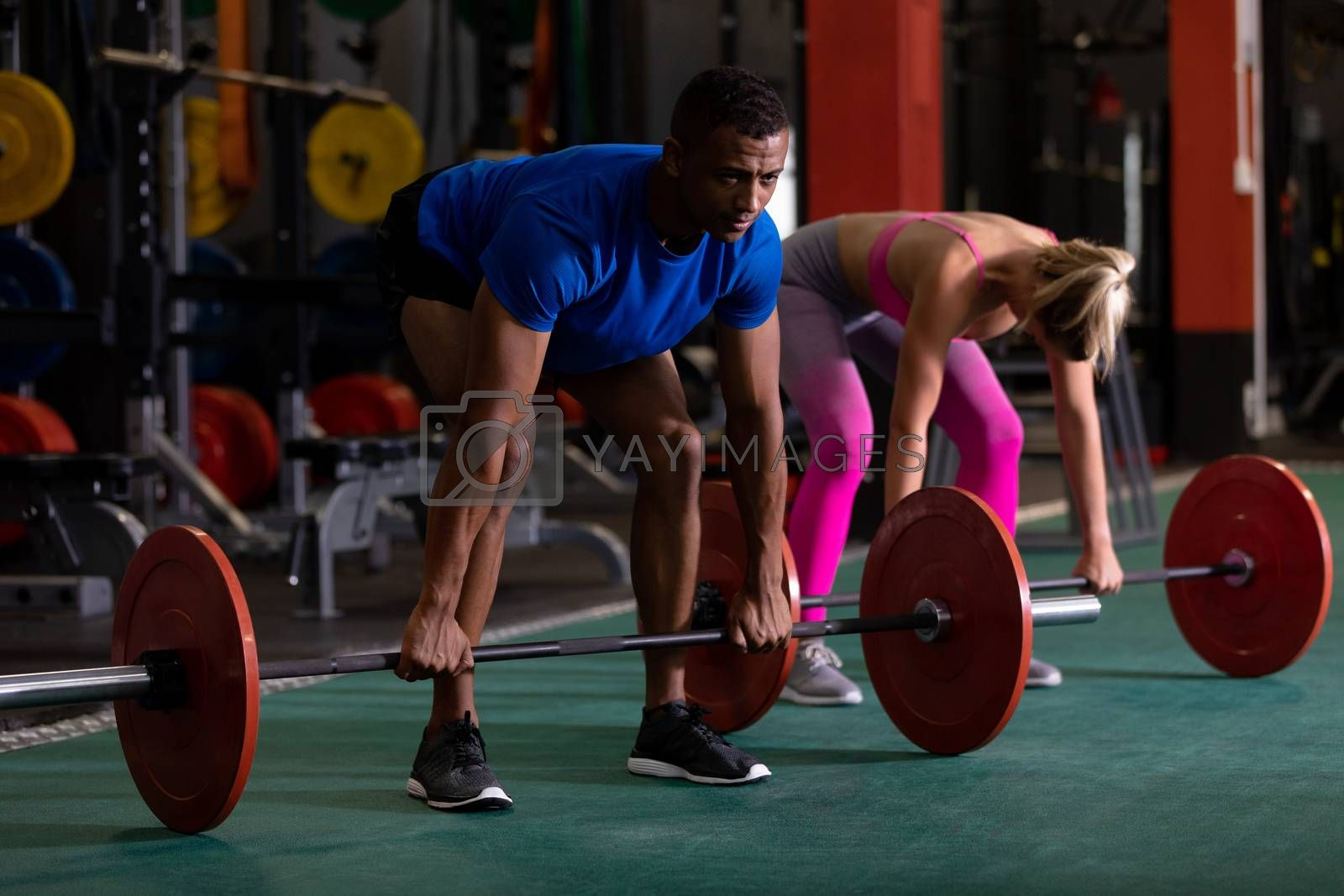 Side view of a Caucasian woman and an African-American man lifting weights inside a room at a sports centre. Bright modern gym with fit healthy people working out and training. Bright modern gym with fit healthy people working out and training