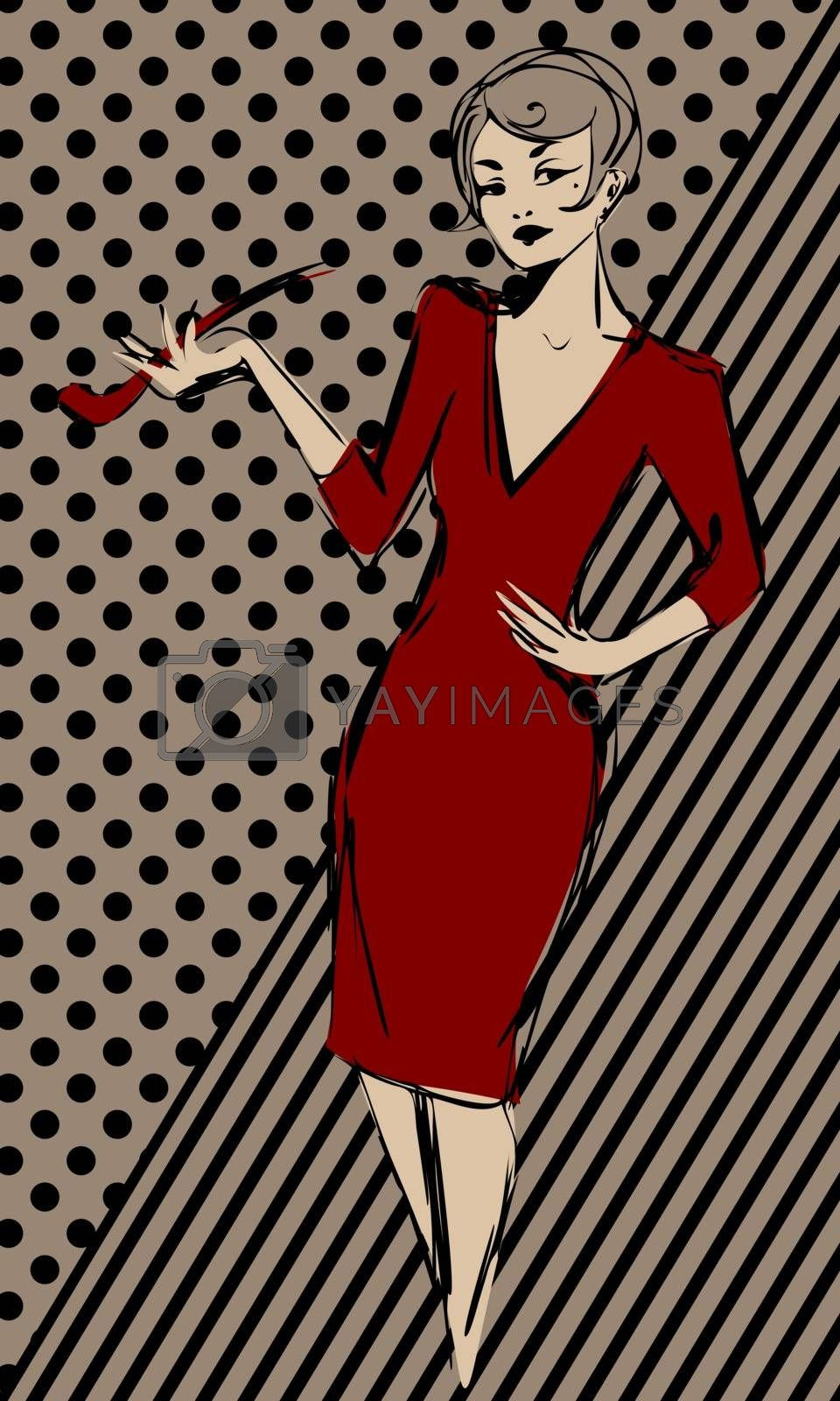Old-fasioned woman in red dress with tobacco pipe on abstract vintage background