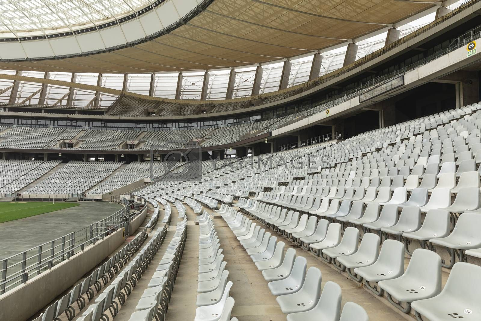 Side view of empty spectators seat in a stadium