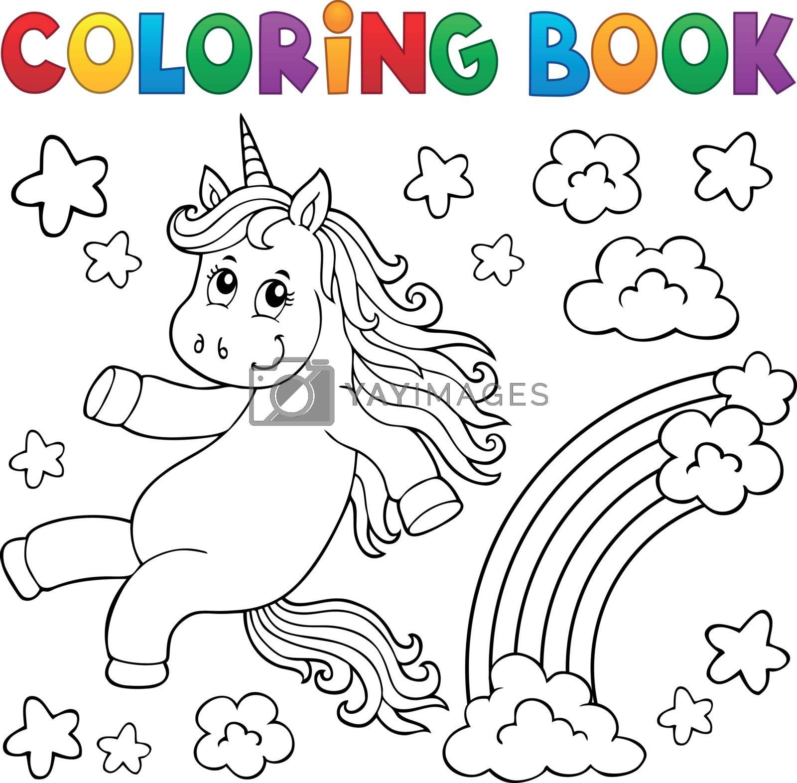 Coloring book cute unicorn topic 2 - eps10 vector illustration.