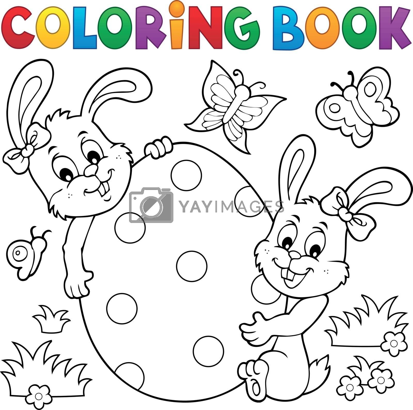 Coloring book Easter egg and rabbits - eps10 vector illustration.