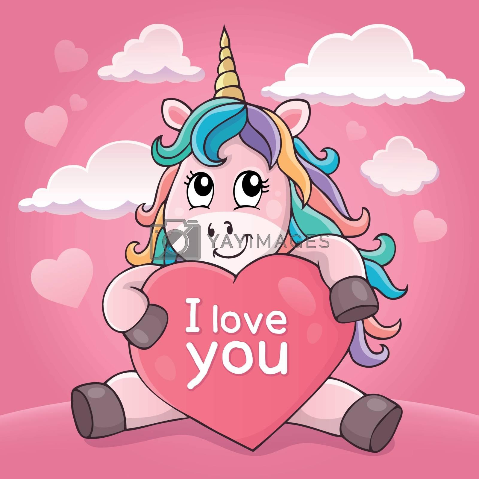 Valentine unicorn theme image 4 - eps10 vector illustration.