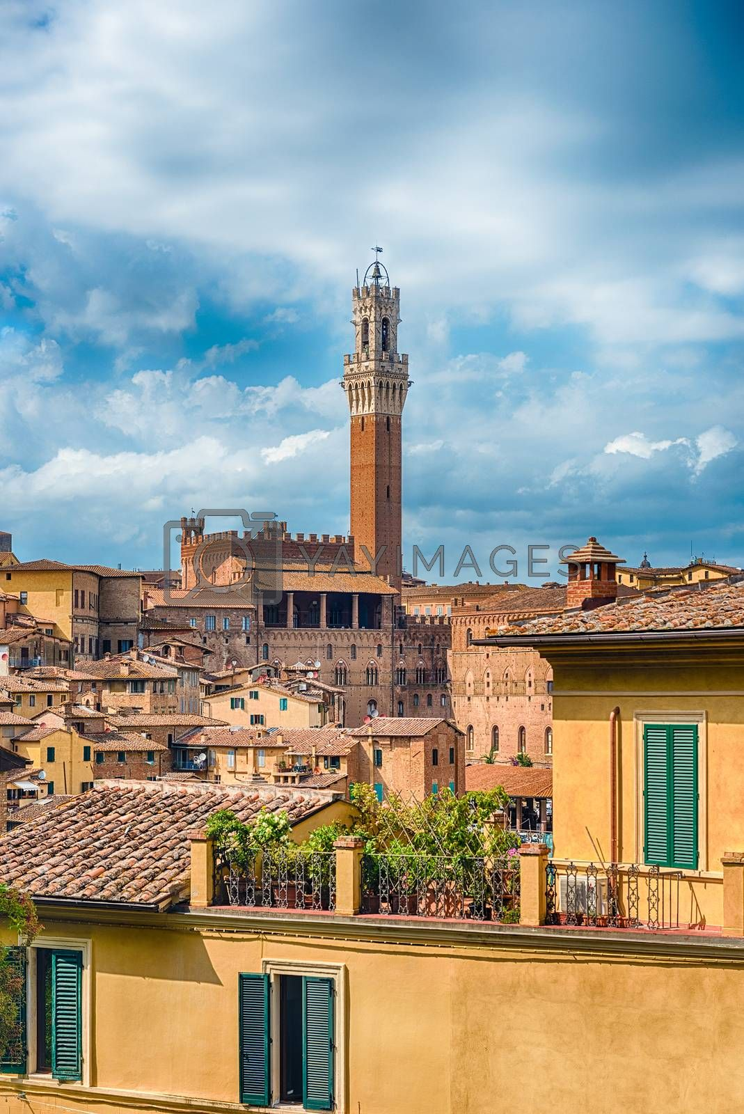 View over the picturesque city centre of Siena, one of the nation's most visited tourist attractions in Italy
