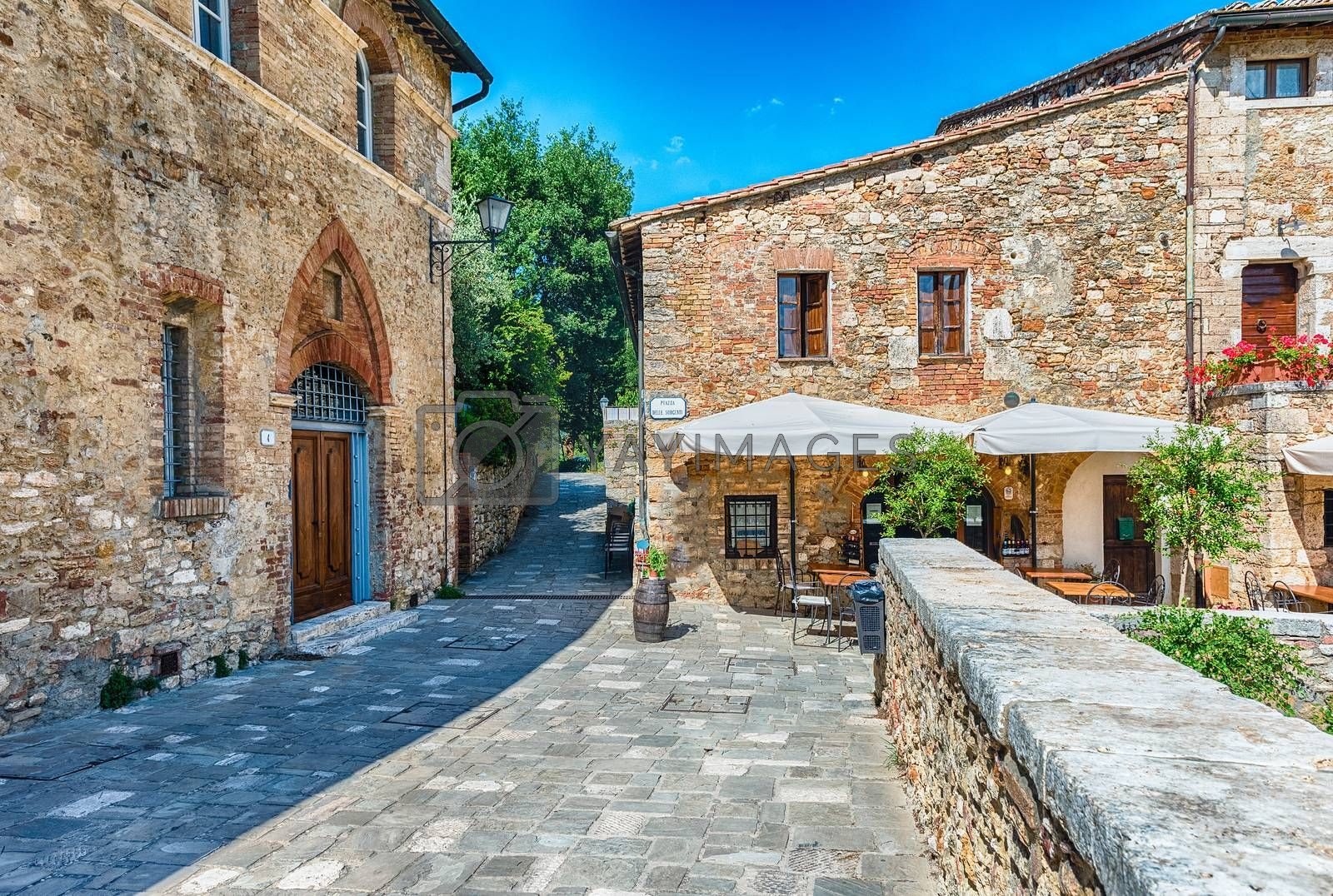 Picturesque medieval buildings in Bagno Vignoni, scenic village in the province of Siena, Tuscany, Italy